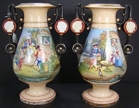 6: SUPERB OLD PARIS VASES WITH PEOPLE AND DOGS