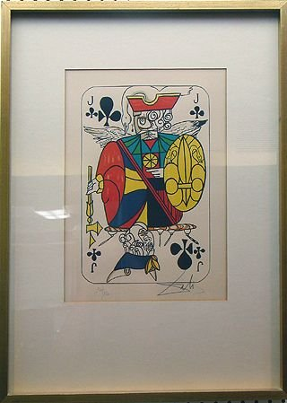 141: RARE SET OF 4 SIGNED DALI LITHOGRAPHS CARDS IN CLU