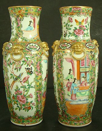 10E: GREAT PAIR OF 19TH CENT ROSE MEDALLION VASES