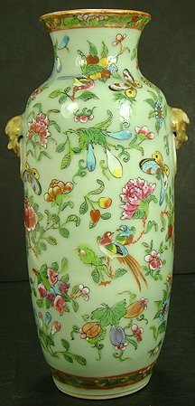 10I: 19TH CENT CELADON ENAMELED VASE WITH FOO DOGS