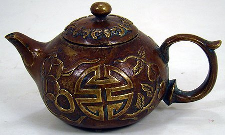 10K: CHINESE BRONZE TEA POT 19TH CENT