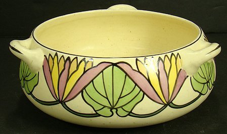 418: ROSEVILLE PERSIAN THREE HANDLED BOWL 7 INCHES