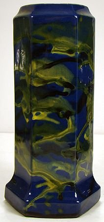 420: PETERS AND REED BLUE AND YELLOW 6 SIDED VASE