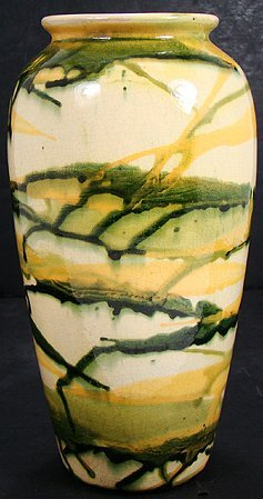425: PETERS AND REED YELLOW AND GREEN VASE OVER CREAM G