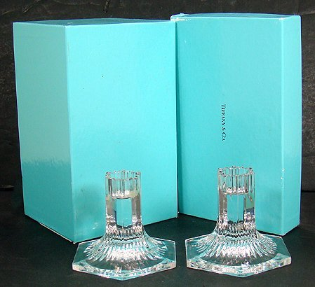 924: PAIR OF SIGNED TIFFANY CRYSTAL CANDLESTICKS