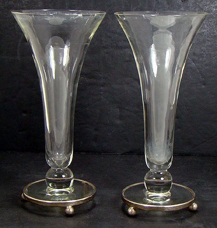 903: CRYSTAL WITH STERLING SILVER TRUMPET VASES