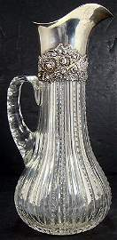 929: VICTORIAN CUT GLASS WITH STERLING SILVER CLARET
