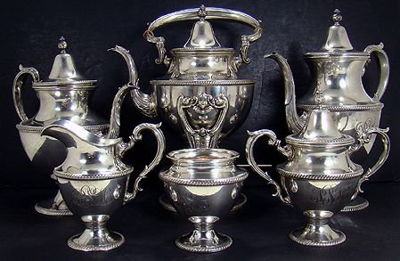 1166: FABULOUS LARGE  6 PIECE FISHER STERLING SILVER TE