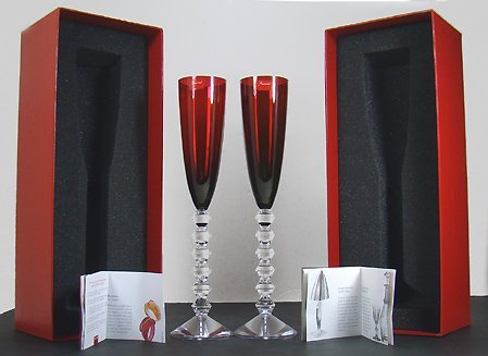 1171: PAIR OF RED SIGNED BACCARAT CHAMPAGNE GLASSES W/B