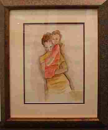 EGON SCHIELE WATERCOLOR PORTRAYING A MOTHER AND