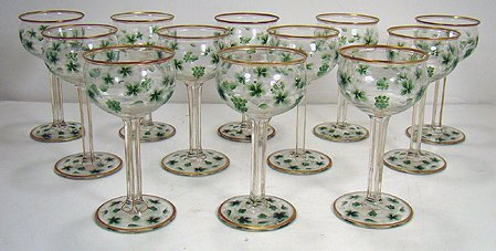 1620: CUT GLASS AND ENAMELED WINE GLASSES