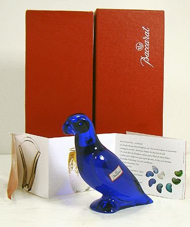 1618: BACCARAT BLUE FALCON OR EAGLE WITH ORIG BOX