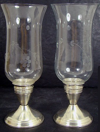 1616: PAIR OF STERLING WEIGHTED HURRICANE LAMPS