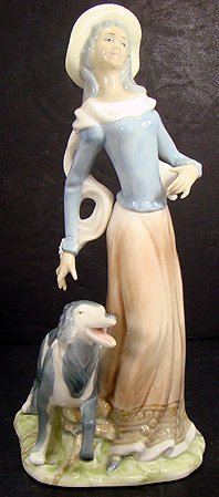 8: LARGE SPANISH PORCELAIN FIGURINE GIRL WITH HER DOG