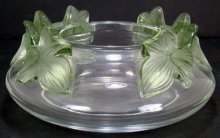 10: LALIQUE RARE RETIRED LIERRE BOWL GREEN LEAVES