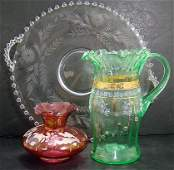 37: 3 PIECE VINTAGE GLASS LOT INCLUDING CANDLEWICK