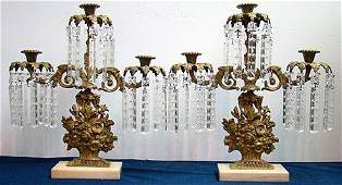 344 PAIR OF VINTAGE BRASS AND CRYSTAL GIRANDOLES