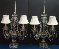 383 PAIR OF ANTIQUE CUT CRYSTAL 2 ARM CANDELABRUM