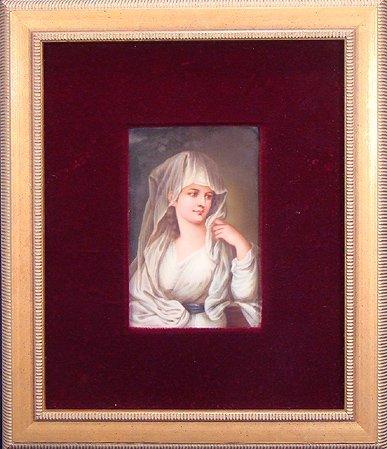 317: 19TH CEN KPM PLAQUE ARTIST SIGNED BEAUTIFUL WOMAN