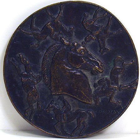 312: RARE HORSE RACING BRONZE PLAQUE FROM JULY 1945