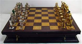825 MEXICAN SILVER AND BRASS CHESS SET