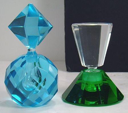 605: VINTAGE COLORED CUT GLASS COLOGNE BOTTLES