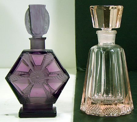 604A: PAIR OF VINTAGE COLORED COLOGNES