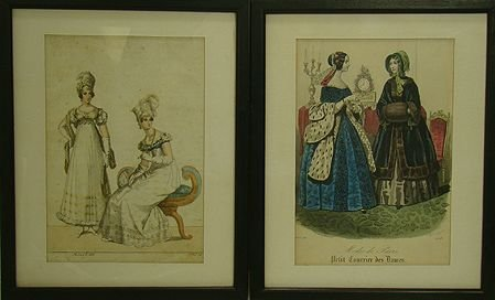 929: PAIR OF 19TH CENTURY FRENCH ENHANCED PRINTS