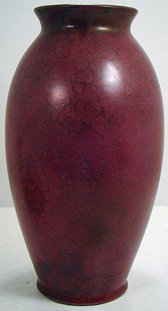 1126: ROSEVILLE PAULEO  RED OIL SKIN  GLAZED LARGE VASE