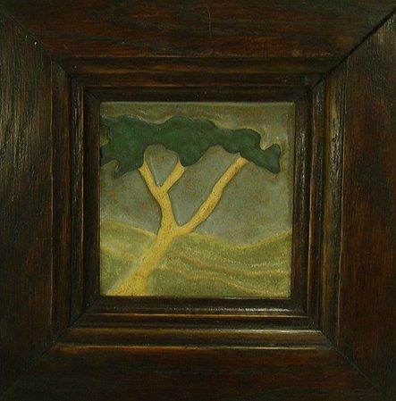 1066: OAK FRAMED TILE OF A TREE
