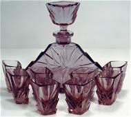 102: ART DECO GLASS 9 PIECE DECANTER SET