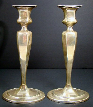 23: PAIR OF VINTAGE LARGE TIFFANY STERLING CANDLESTICKS