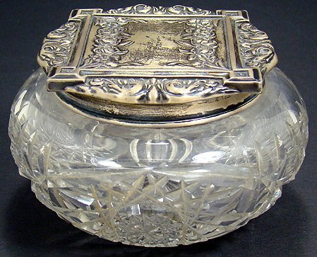 12: CUT GLASS AND STERLING DRESSER BOX