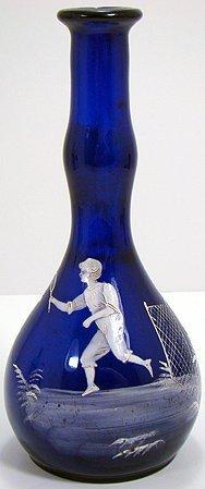 310: MARY GREGORY COBALT BLUE BARBER BOTTLE