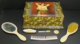 324: VICTORIAN CELLULOID COVERED LADIES DRESSER BOX
