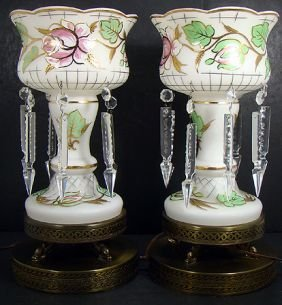 321: PAIR OF HAND PAINTED MID CENT. MANTLE LUSTRE LAMPS