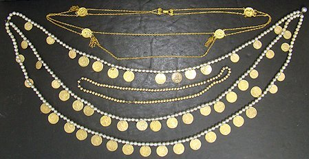1002: COSTUME JEWELRY FAUX GOLD COIN NECKLACES