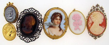 1006: 6 CAMEO PINS AND PENDANTS