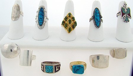 1008: LOT OF 8 STERLING/TURQUOISE RINGS