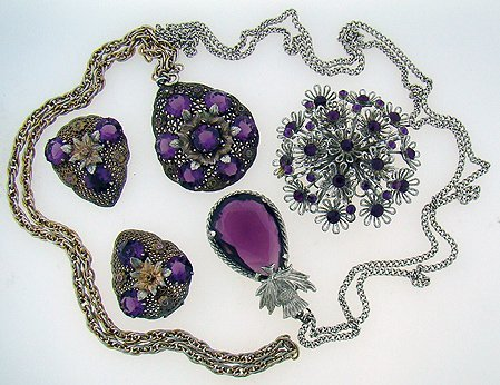 1010: 4 PIECE FAUX AMETHYST AND SILVER JEWELRY LOT