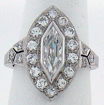 1024: PLATINUM ART DECO 2.00CT DIAMOND RING