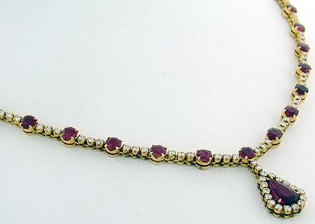 1025: 18KT Y.G. RUBY AND DIAMOND NECKLACE 10.25CT