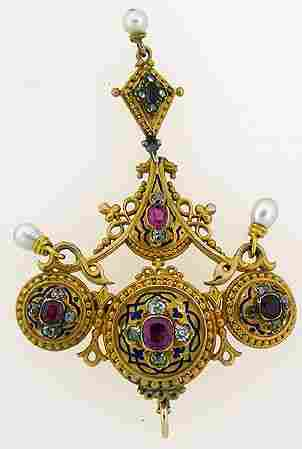 1091: 18KT P.G. VICTORIAN RUBY AND DIAMOND PENDANT