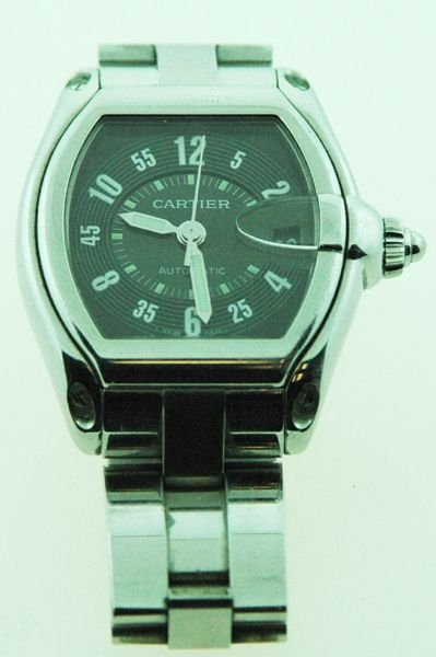 225: MENS CARTIER S/S ROADSTER AUTOMATIC