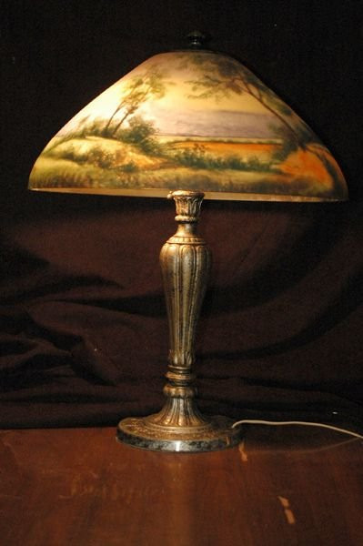 22: FABULOUS SIGNED JEFFERSON REVERSE PAINTED LAMP SHAD