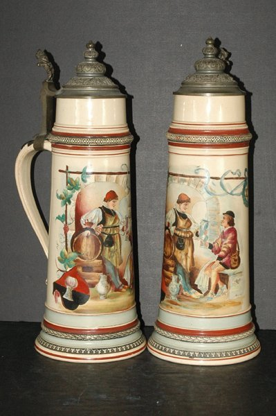 12: PAIR OF VINTAGE UNIQUE LARGE HAND PAINTED STEINS