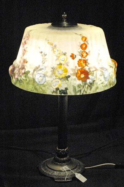 22A: LARGE PAIRPOINT ANTIQUE HOLLYHOCK PUFFY LAMP