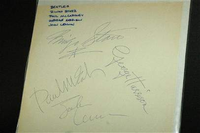 585: THE BEATLES ALBLUM COVER SIGNED BY ALL 4 WITH COA