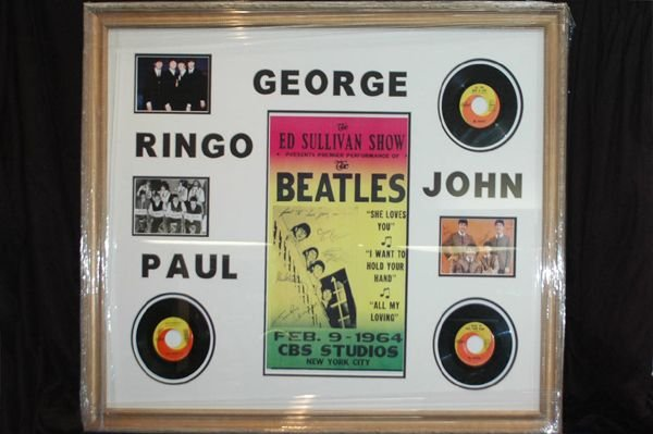 472: BEETLES MONTAGUE WITH ORIG RECORDS AND ED SULLIVAN