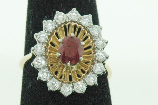 836: 18KT Y.G. ESTATE RUBY AND DIAMOND RING 1.00CT